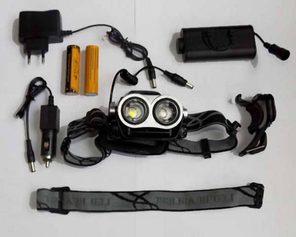 Налобный фонарь HT-414-T6 велосипедный два светодиода повербанк