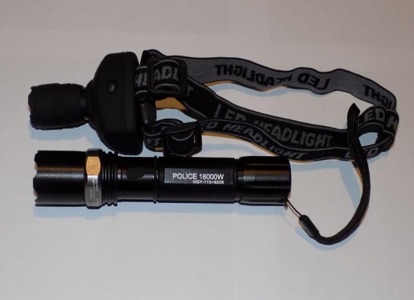 Комплект налобный и тактический фонари NGY-110+8208
