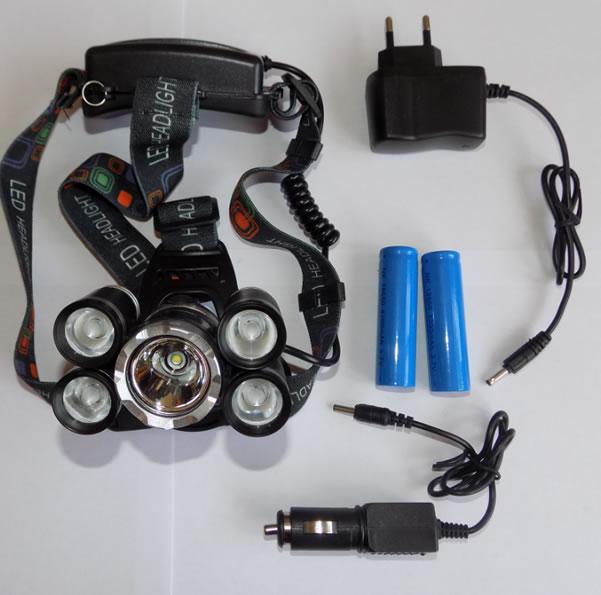 мощный налобный фонарь с пятью фарами QE-905