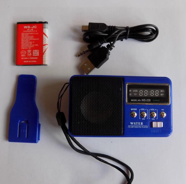 Цифровой мини FM радиоприемник WSTER WS-239 с USB, micro SD картридером