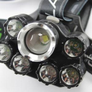 Налобный фонарь BL-T73-T6 семь светодиодов два синих