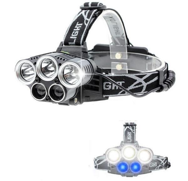 Налобный фонарь Огонь H-T476 пять фар два синих светодиода