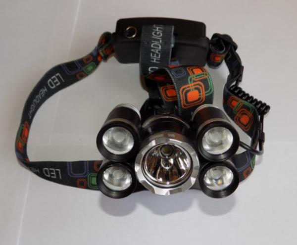 Мощный налобный фонарь QE-905 с пятью фарами