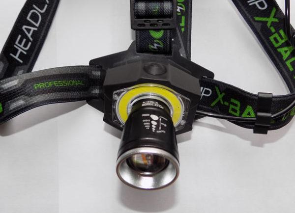 Налобный фонарь BL-592-B1-T6 с дополнительной светодиодной панелью