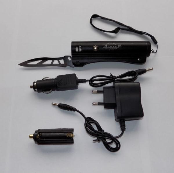 Тактический фонарь c ножом Огонь H-392 Police 8000W