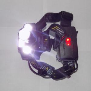 Налобный фонарь H-T495 три светодиода и COB панель