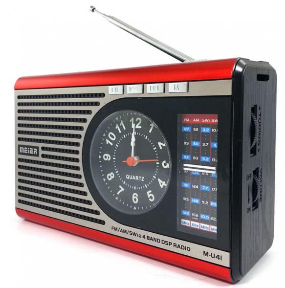 Радиоприёмник MEIER U41 с фонариком и часами